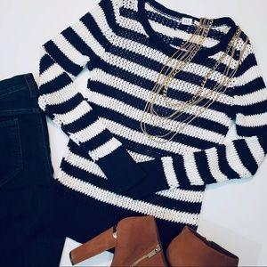 Gap Navy Blue & Off-White Knit Sweater